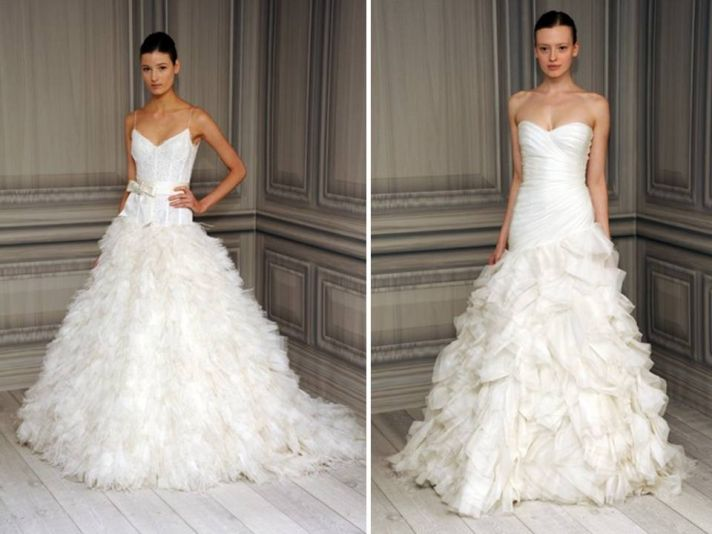 Texture-rich a-line wedding dresses from Monique Lhuillier's 2012 collection