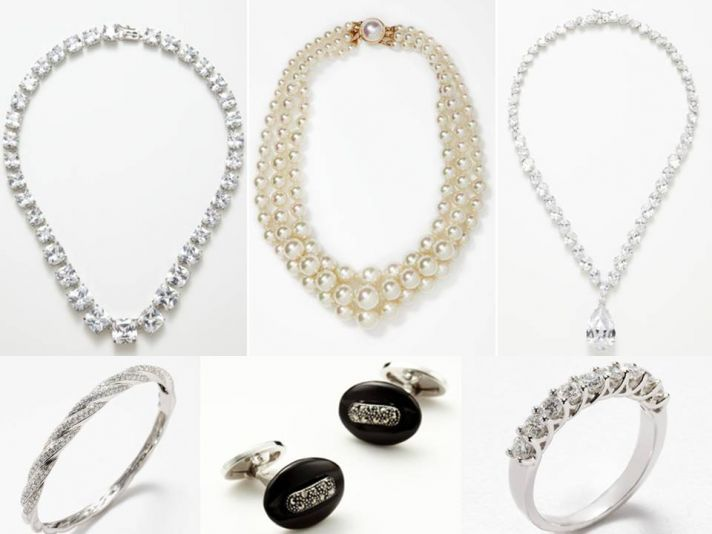 Statement bridal necklaces, diamond wedding band and stylish groom's cuff links