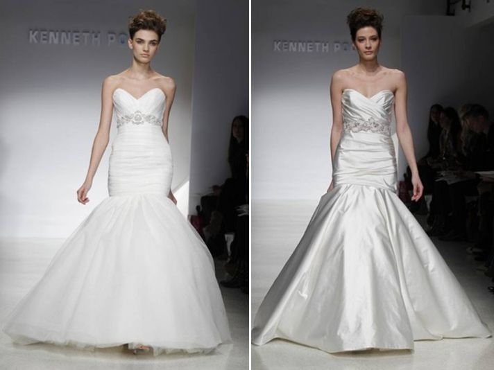 Drop-waist mermaid white tulle wedding dress and silk champagne gown with sweetheart necklines and e
