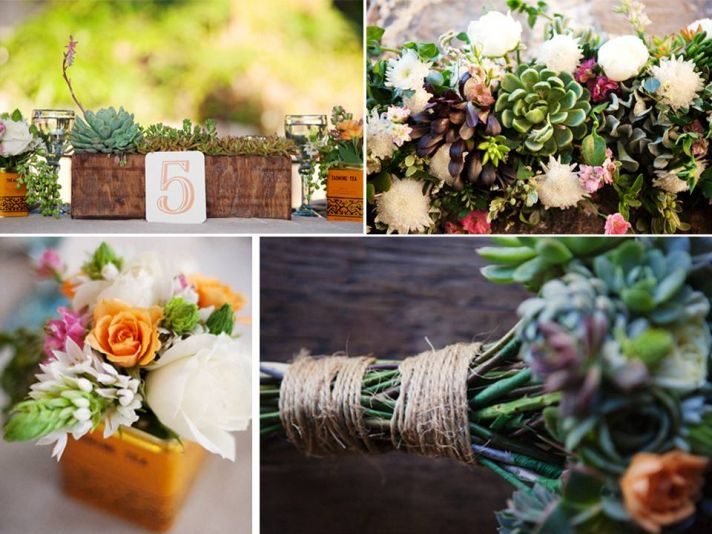 Gorgeous eco-friendly succulents for wedding reception centerpieces, bridal bouquet and more