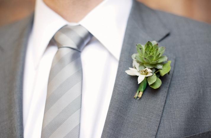 dapper-groom-grey-suit-formalwear-eco-friendly-boutoinniere-succulents-wedding-flowers