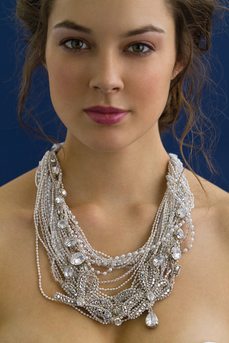 Chic multistrand bridal necklace with large hanging crystals