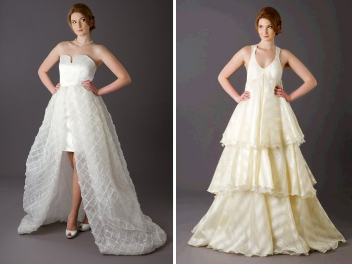 Versatile a-line 2012 wedding dresses that covert into short wedding reception frocks