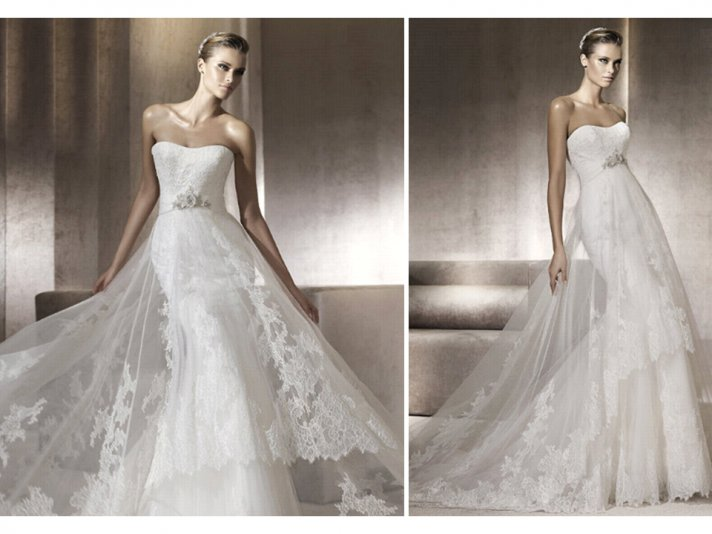 Lace Pronovias wedding dress with sheer overlay and beaded bridal belt