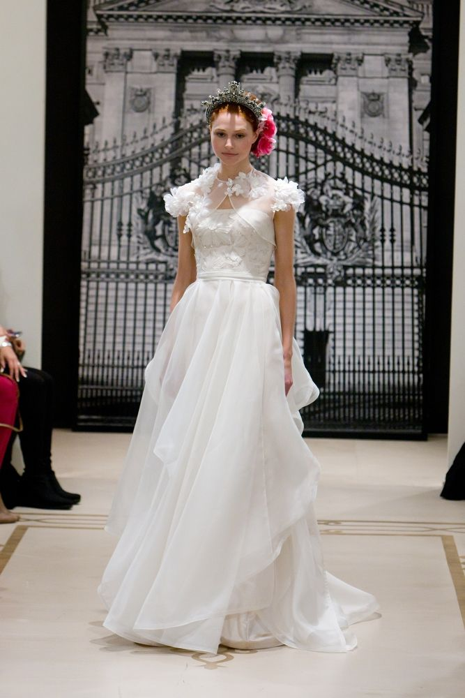 Chic tulle halter modified a-line wedding dress by Reem Acra