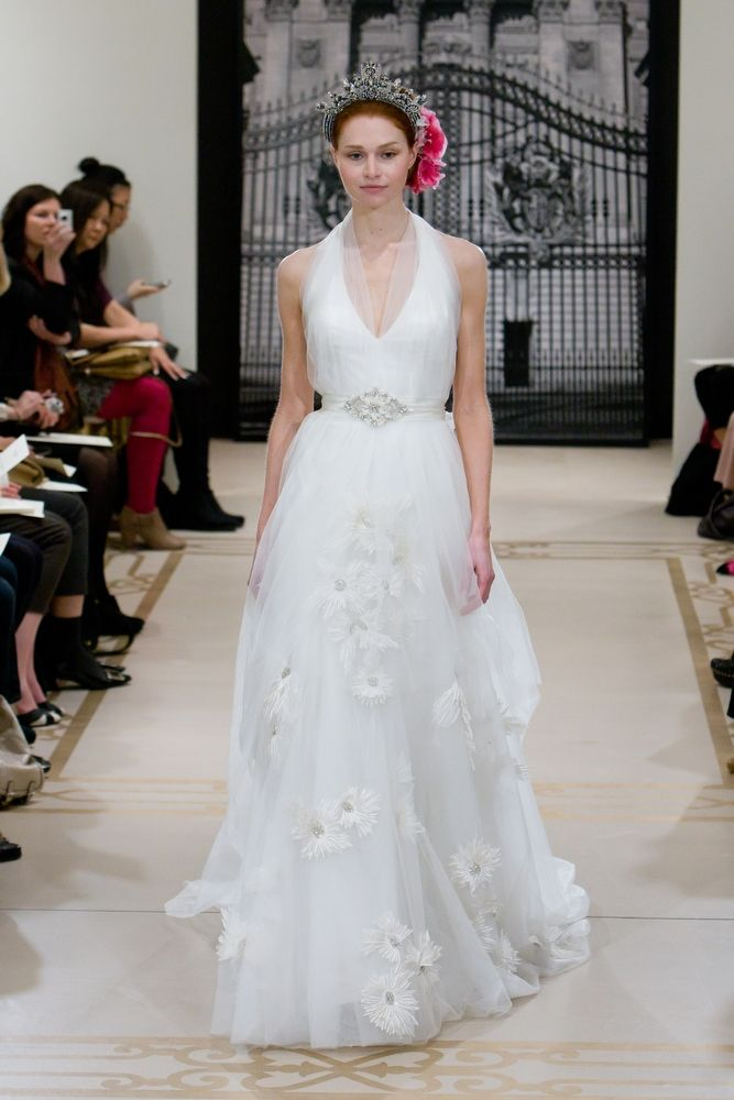 Chic halter Spring 2012 reem acra wedding dress with beaded bridal belt