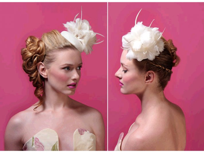 Stunning silk and feather ivory wedding hat