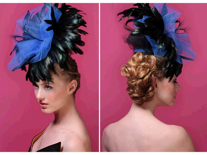 Royal blue and black feather-adorned bridal headpiece