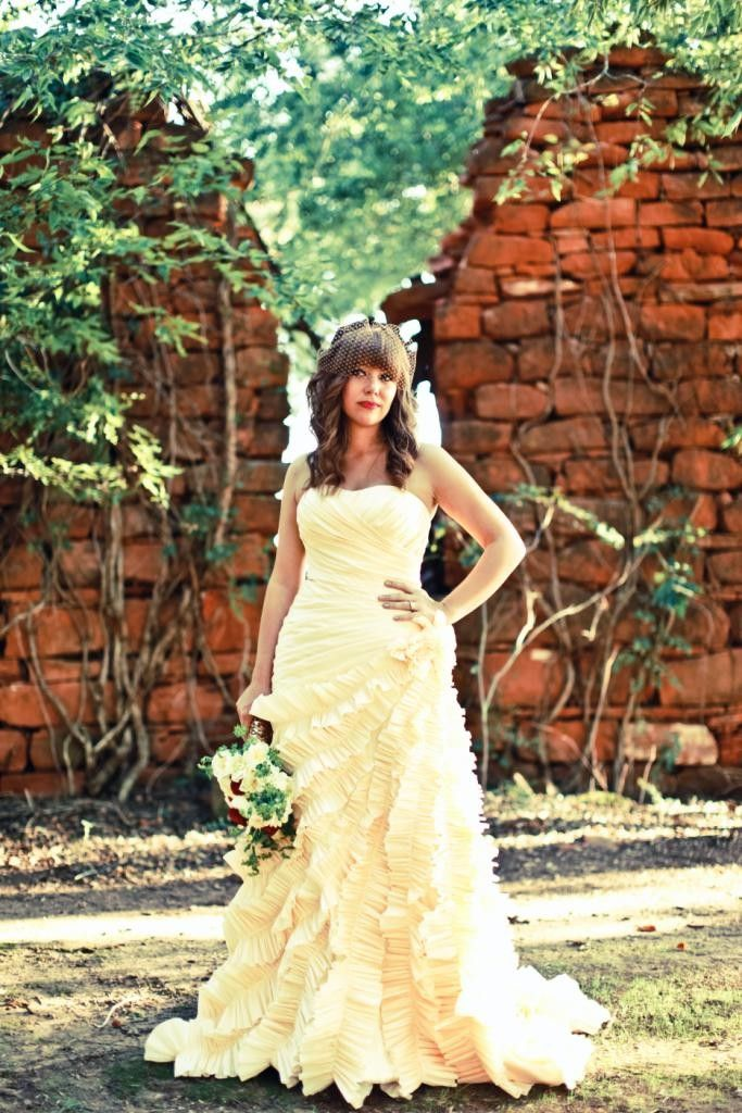 Chic butter yellow strapless a-line wedding dress with ruffle details