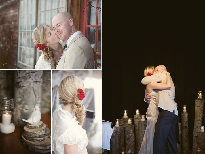 Casual bride and groom kiss after saying I Do at wedding ceremony
