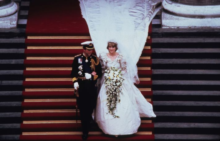 Princess Diana walks down aisle in bridal gown by David and Elizabeth Emanuel