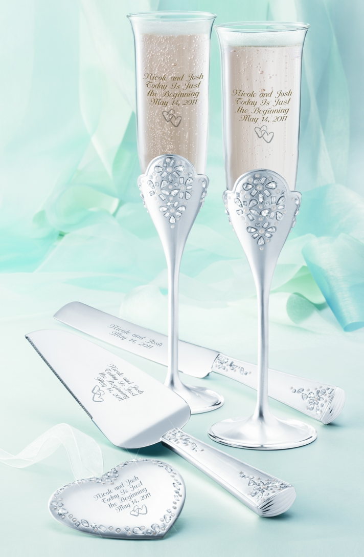 Win this stunning flute and server set engraved with your romantic wedding details