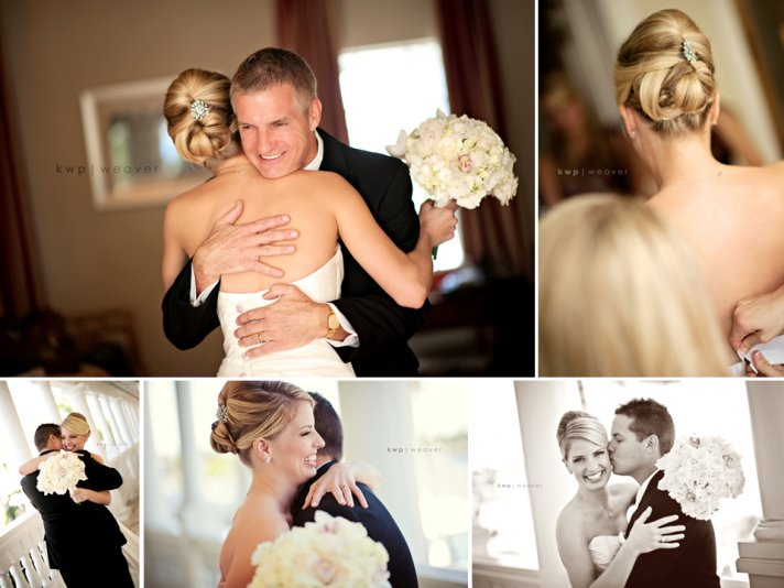Chic bridal hairstyle- sleek chignon with antique brooch hair clip