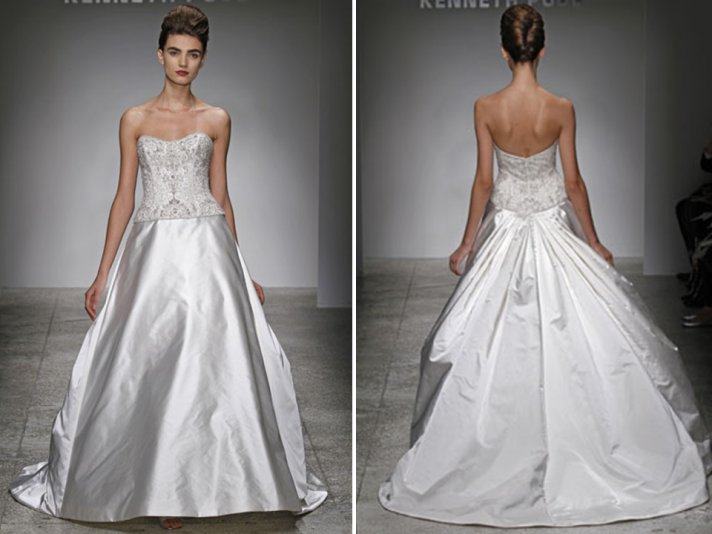 Duchess satin strapless ballgown Kenneth Pool wedding dress