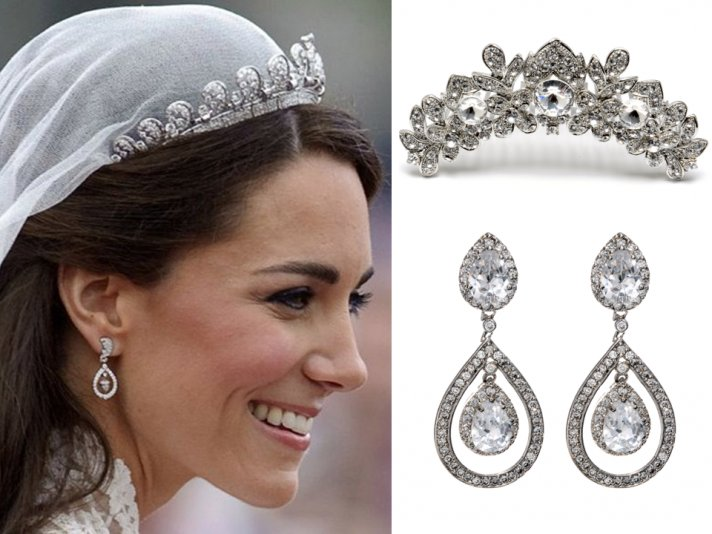 Contemporary bridal earrings with lots of bling and chic bridal bangles
