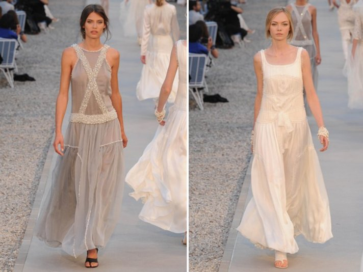 Grecian-inspired Chanel 2012 gowns for a beach or destination wedding