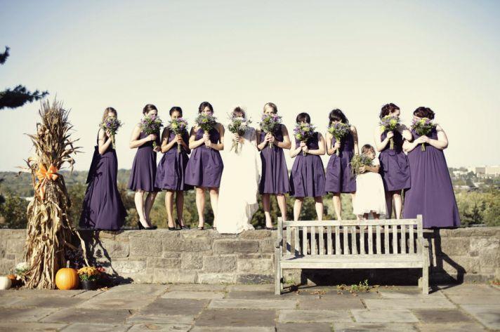 Outdoor Ohio wedding at country club wedding venue- bridesmaids pretty in purple