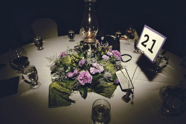 Chic fall wedding centerpieces with purple and green flowers