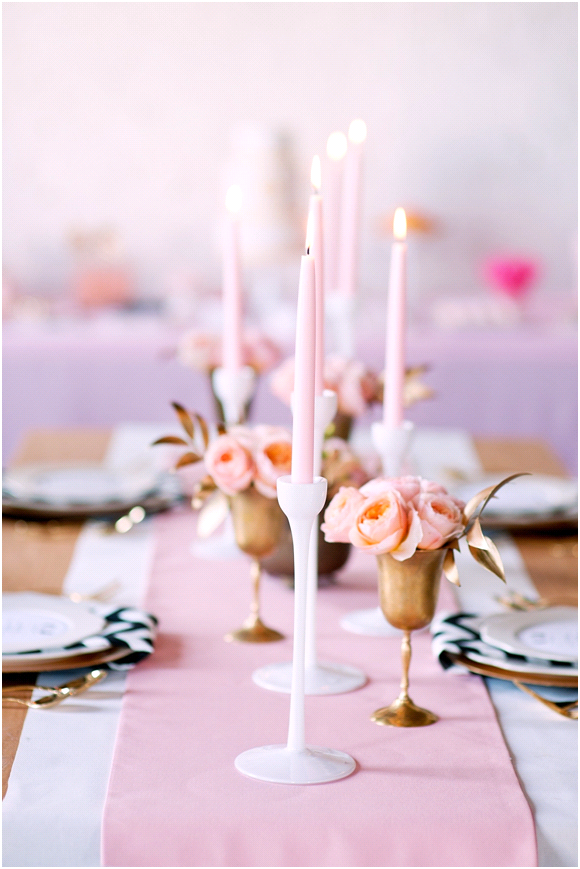Romantic summer wedding floral centerpieces and peach tablescape