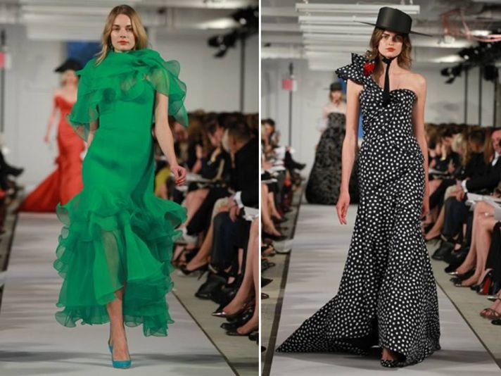 Chic bridesmaid dress inspiration from Oscar de la Renta for a emerald green and black/white polka d