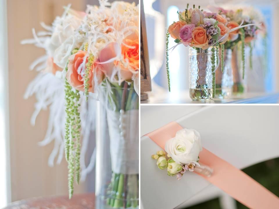 Romantic wedding flowers centerpieces and bridal bouquet peach blush pink