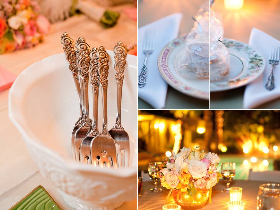 Chic outdoor wedding reception in Las Vegas with soft wedding color palette
