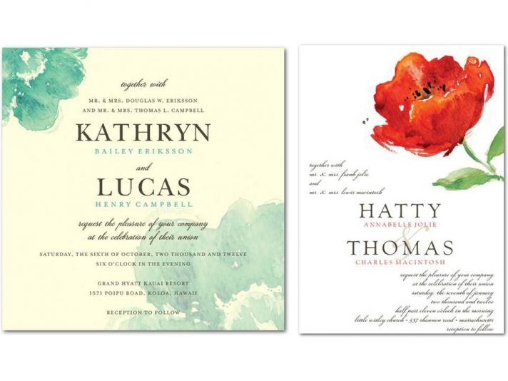 Romantic ecru wedding invitation with pastel blue floral design and white wedding invite with bold r