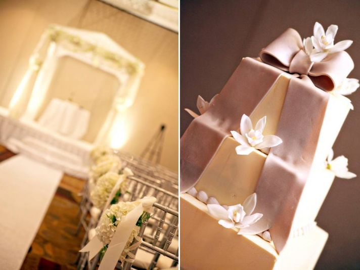 Elegant wedding ceremony ballroom at Baltimore wedding venue; chic ivory fondant wedding cake