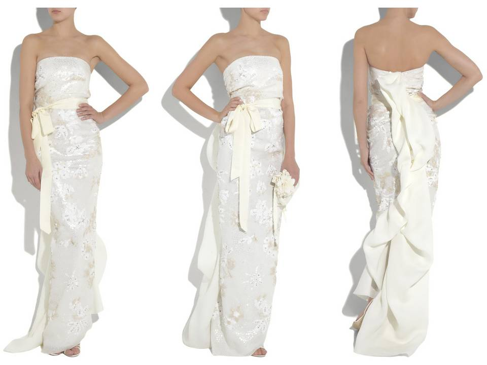 Chic silk mermaid column strapless wedding dress with silver detailing and