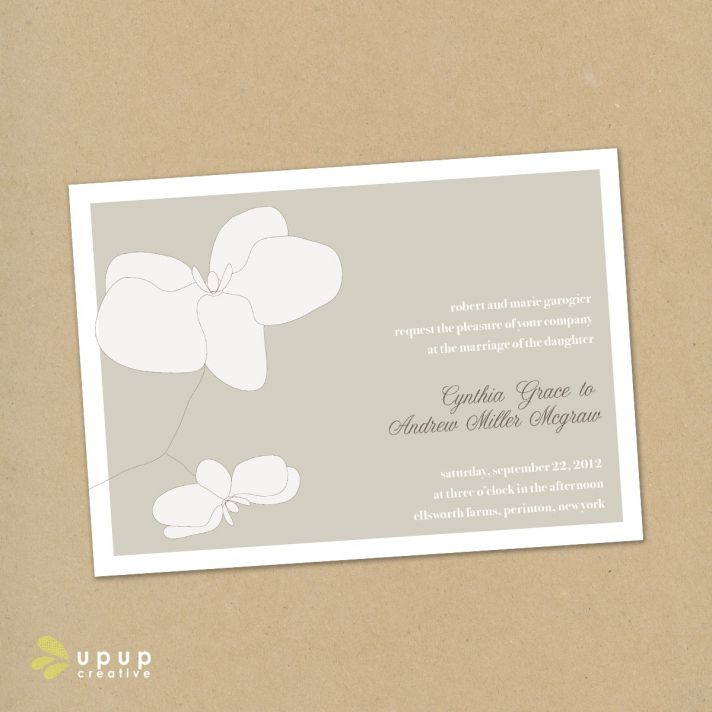 Romantic and natural white and dove grey DIY eco-friendly wedding invitation set