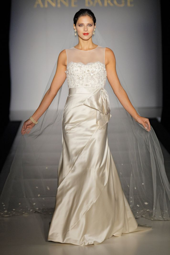 Bateau neck ivory silk mermaid wedding dress with romantic illusion fabric neckline