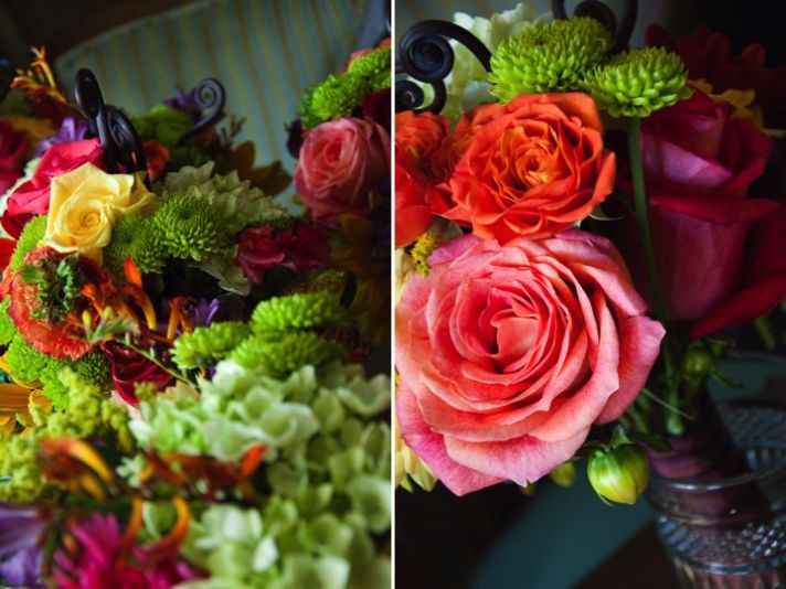 Gorgeous fall wedding flowers in pink, purple and coral