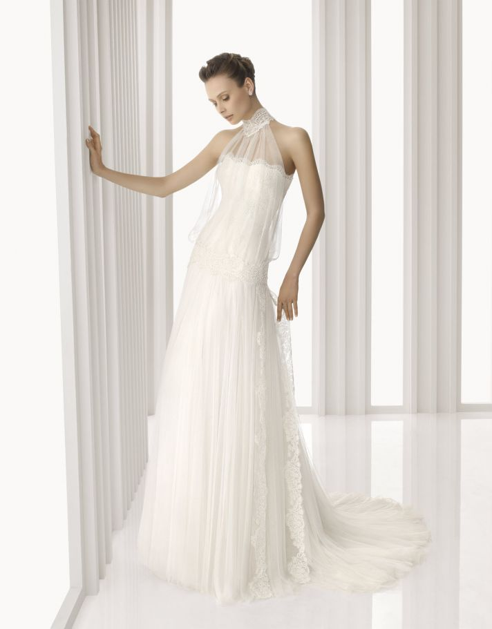 Romantic drop-waist sheath wedding dress with sheer lace turtle neck neckline