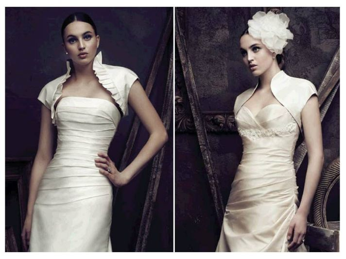 Luxe and sophisticated ivory silk bridal boleros by Paloma Blanca