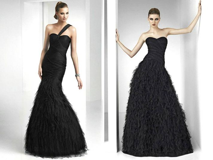 Elegant black full-length bridesmaids dresses by Pronovias