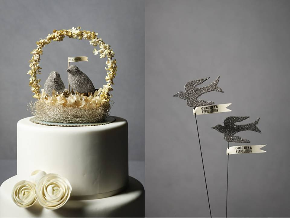Adorable silver sparkly wedding cake topper from BHLDN
