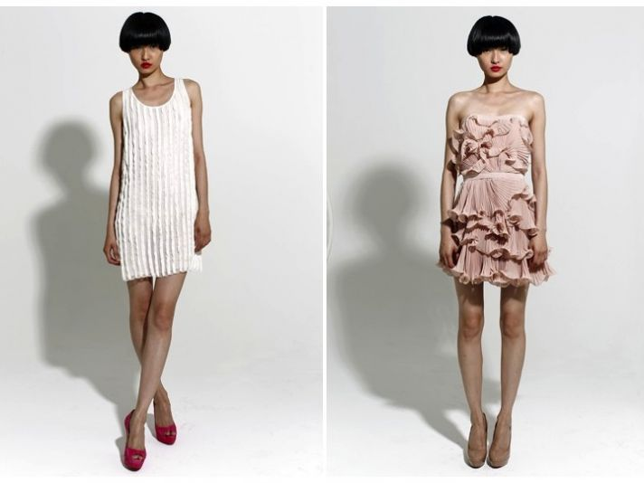 White scoop neck beaded little white dress and romantic blush pink frock with ruffle details