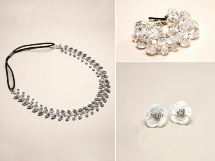 Rhinestone-encrusted bridal headband, cuff and earrings from The Limited