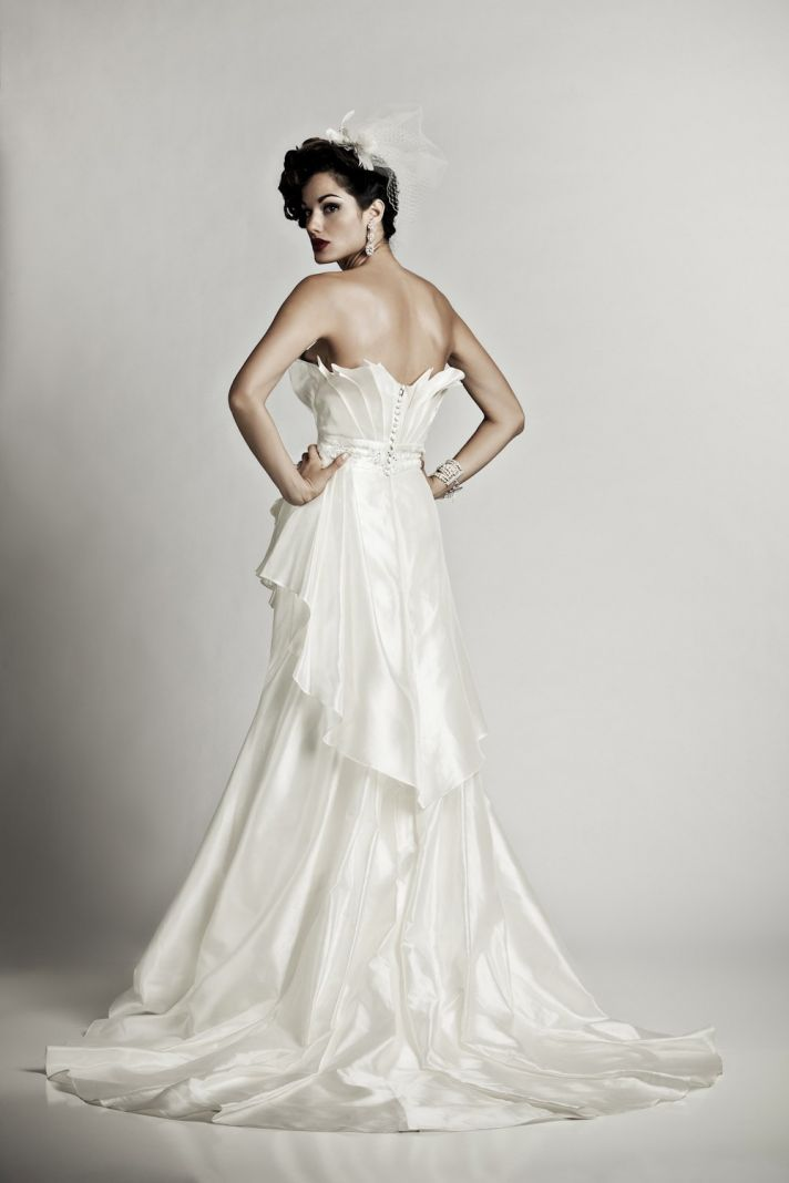 Glam Matthew Christopher ivory silk shantung wedding dress with covered buttons up back