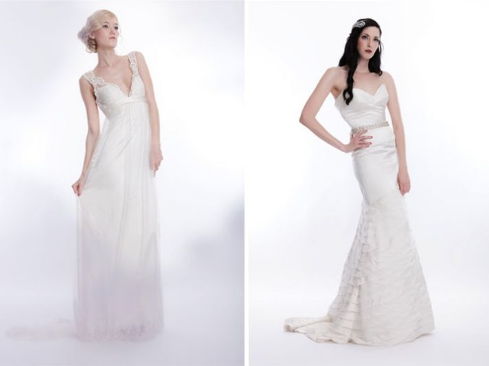Gorgeous ivory empire and sleek silk mermaid bridal gowns by Sarah Houston
