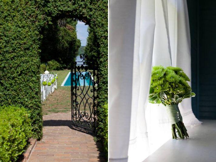 Outdoor garden wedding venue in Florida and all-green bridesmaids bouquet