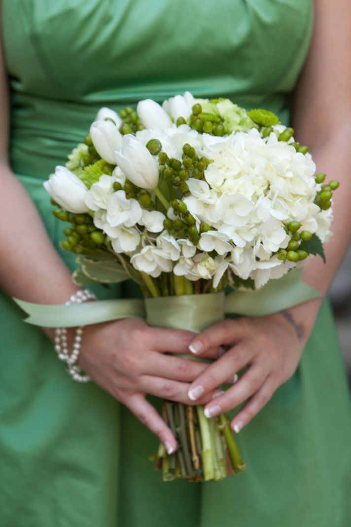 Apple green satin bridesmaid dress and ivory and green bridesmaid bouquet