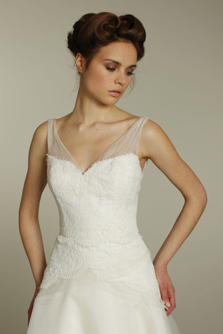 Ivory a-line Alvina Valenta wedding dress with on-trend sheer illusion straps and lace applique