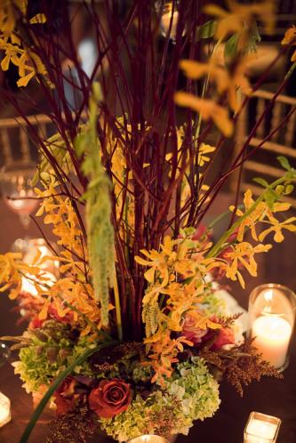 Romantic fall wedding reception decor and centerpieces with manzanilla
