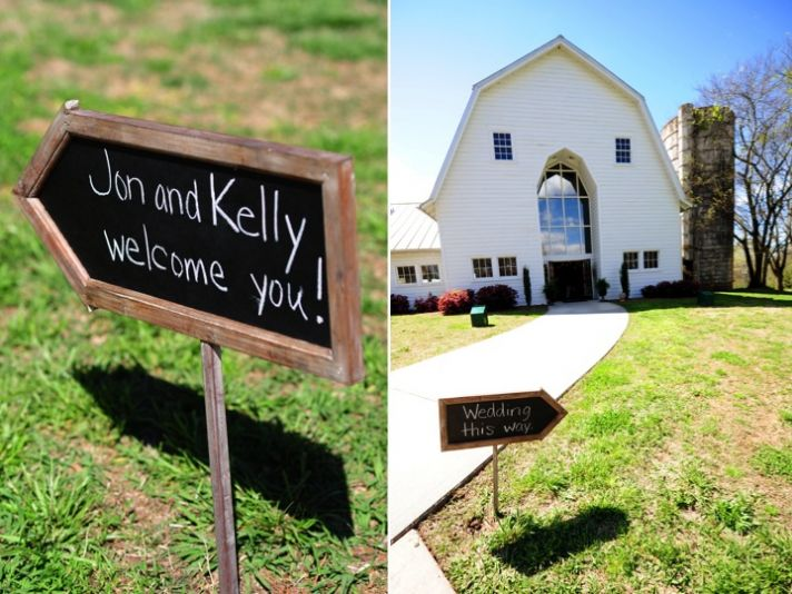 Classic white wedding chapel for South Carolina wedding ceremony and chic chalkboard details