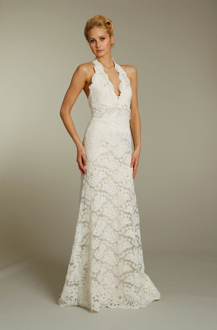 Ivory lace modified mermaid wedding dress with embellished bridal sash