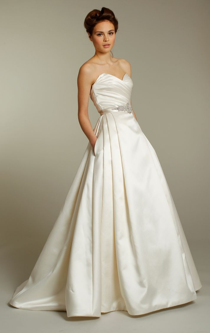 Classic ivory silk a-line wedding dress with embellished sash and sweetheart neckline