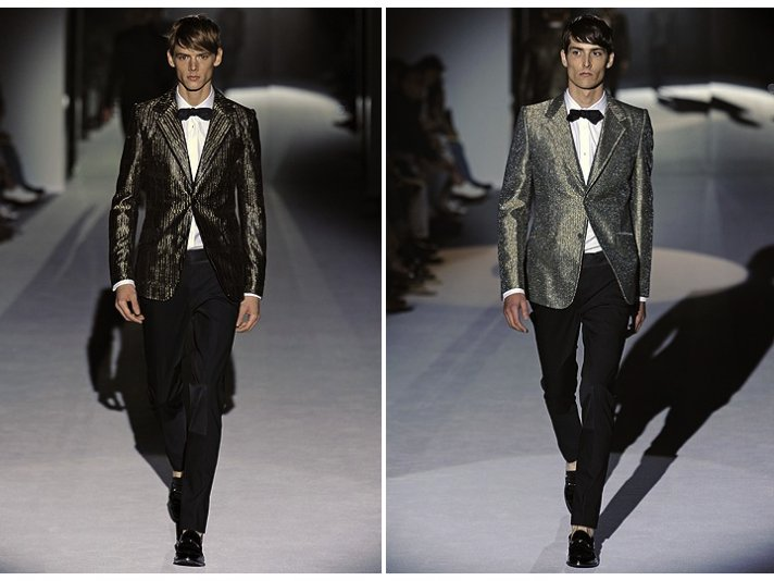 On-trend metallic tuxedo jackets with classic tuxedo pants for the stylish groom