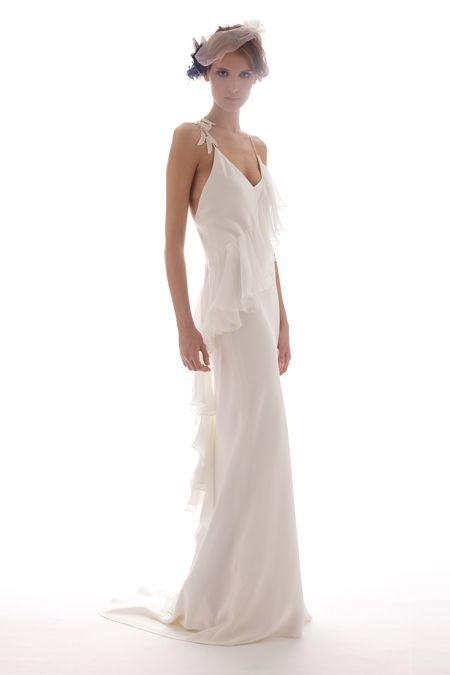 Spaghetti strap sheath silk wedding dress by Elizabeth Fillmore