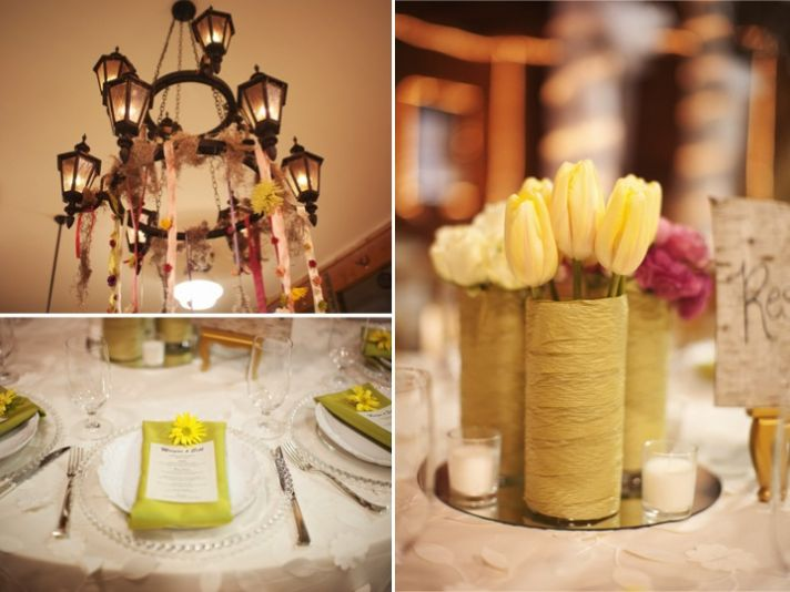 Pale yellow, sage and pink wedding reception decor and centerpieces